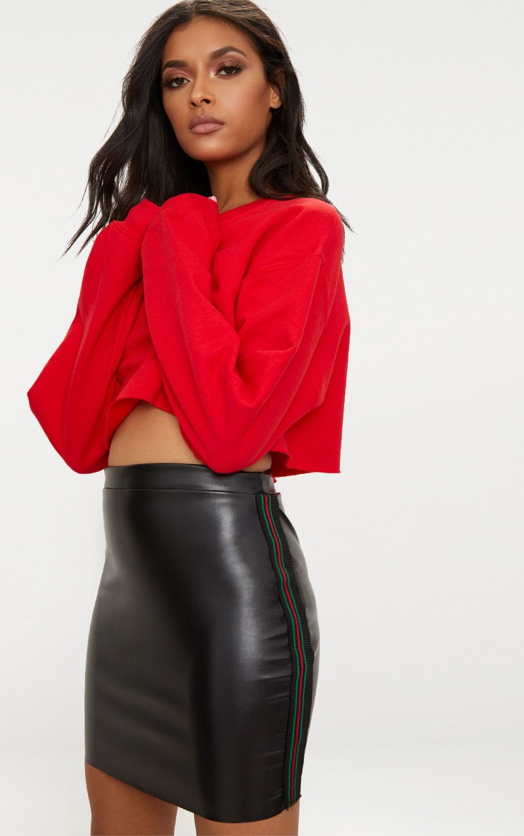 Black PU Track Stripe Mini Skirt  1
