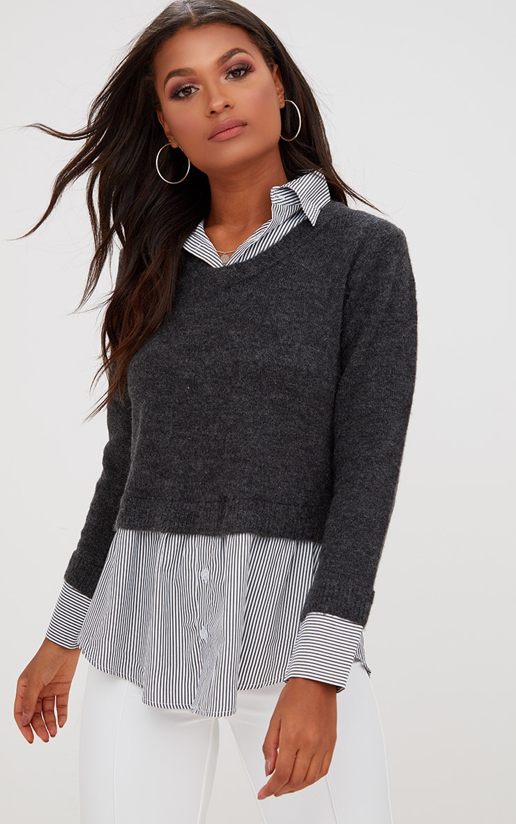 Grey Shirting Detail Jumper 1