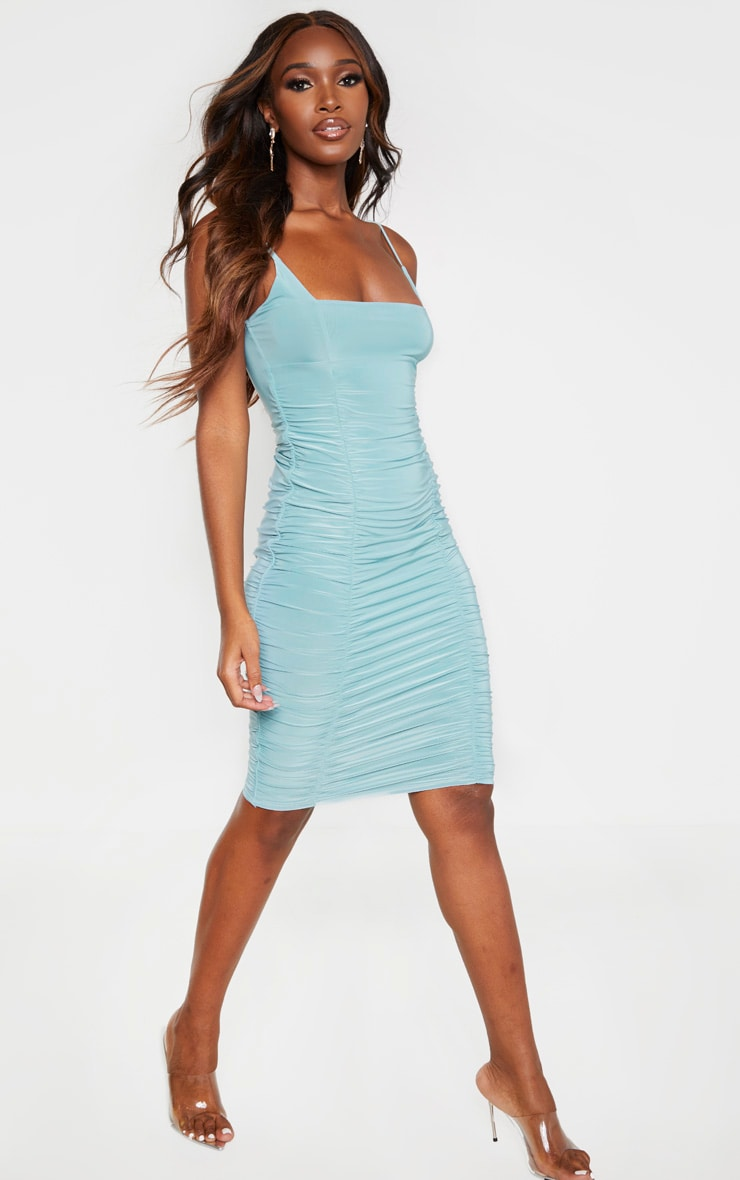 Dusty Turquoise Slinky Strappy Ruched Side Detail Midi Dress 4