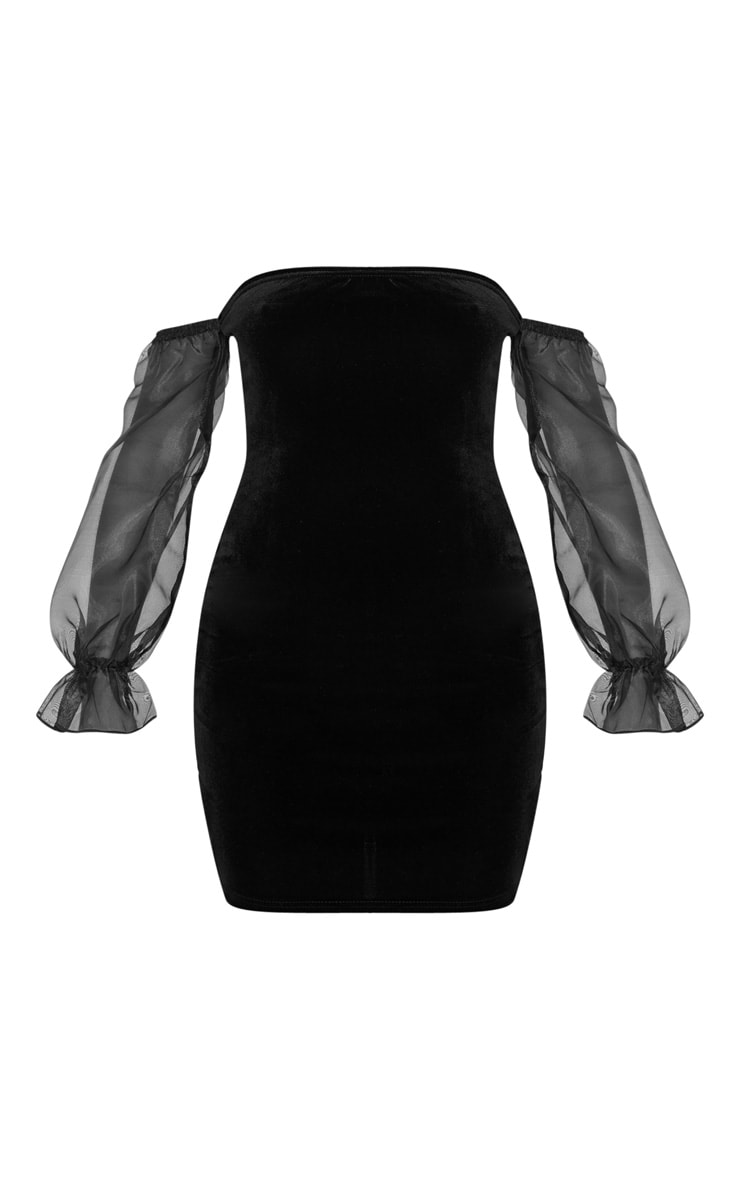 Black Organza Bardot Sleeve Velvet Bodycon Dress 3