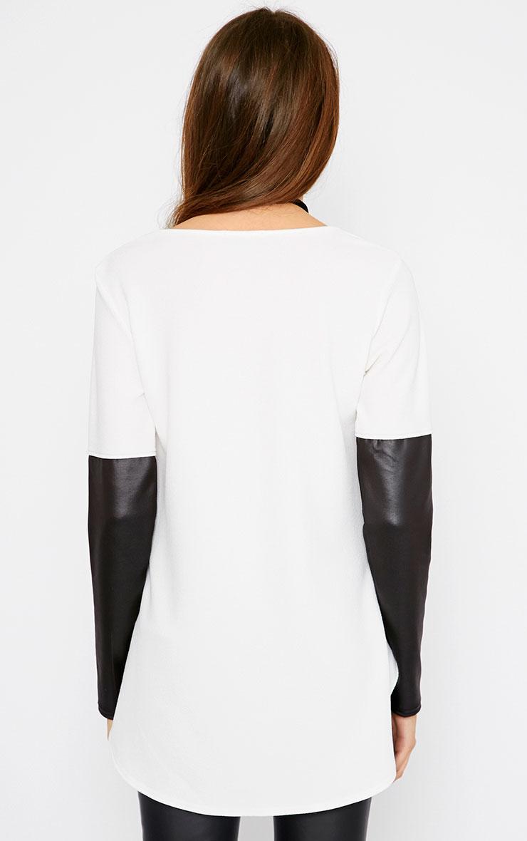 Sydney Cream Leather Sleeve Drop Hem Top  2