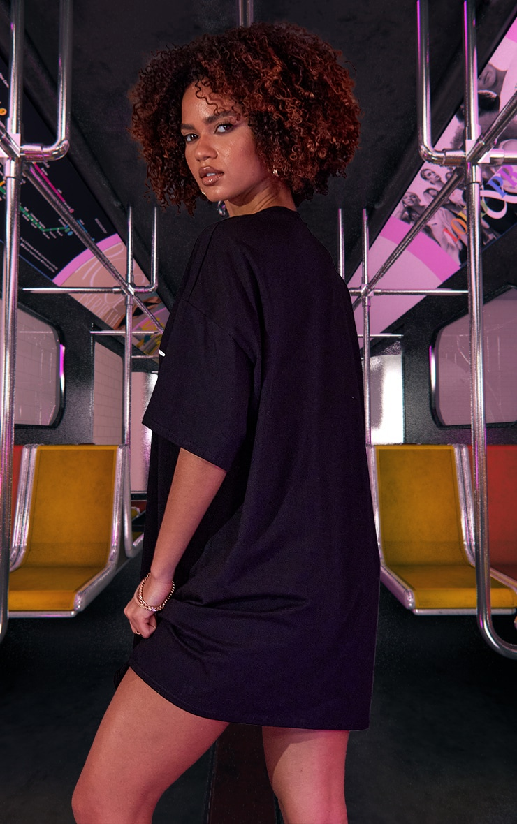 Black Graphic Print Oversized T Shirt Dress 3
