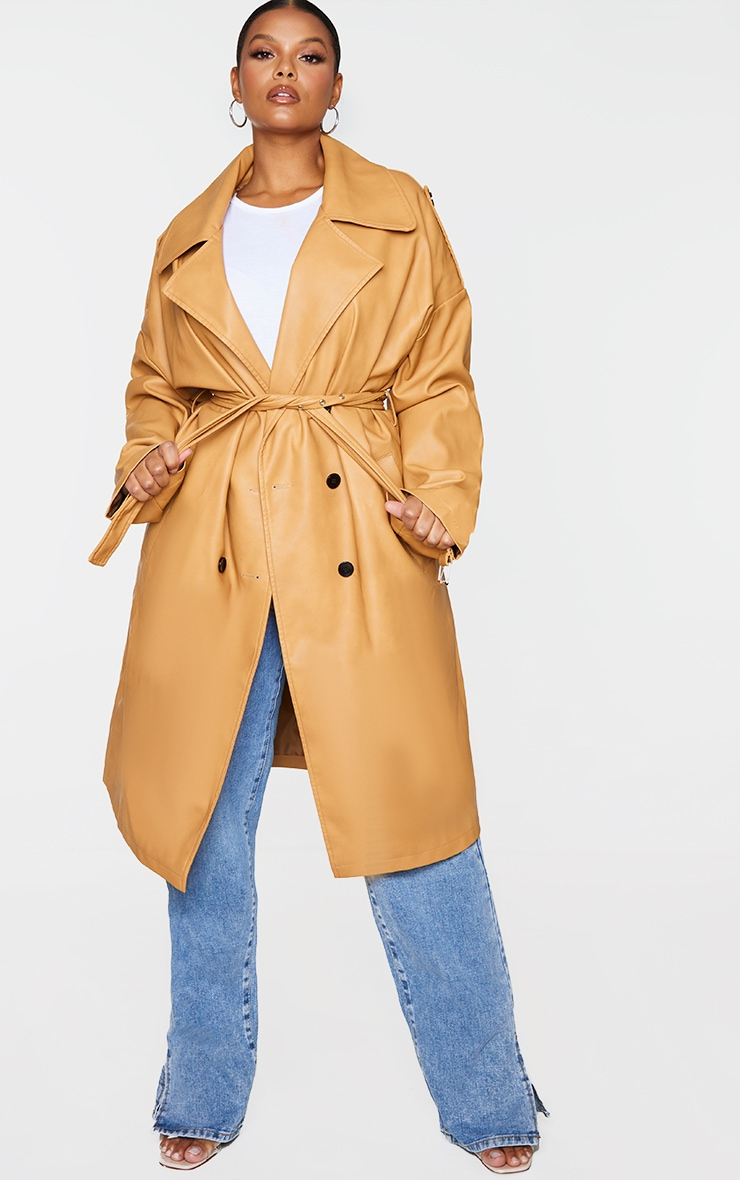 Plus Camel Faux Leather Drop Arm Midi Trench 1