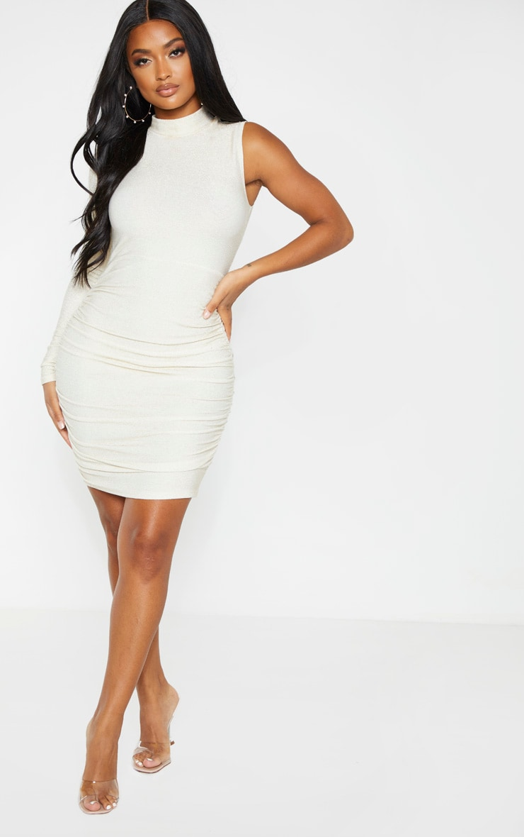 Shape Gold Glitter High Neck Ruched Skirt Bodycon Dress 4
