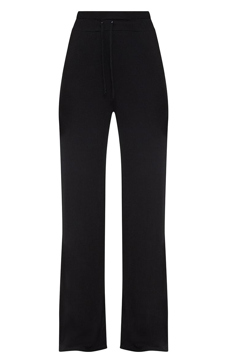 Black Drawstring Jersey Wide Leg Jogger 3