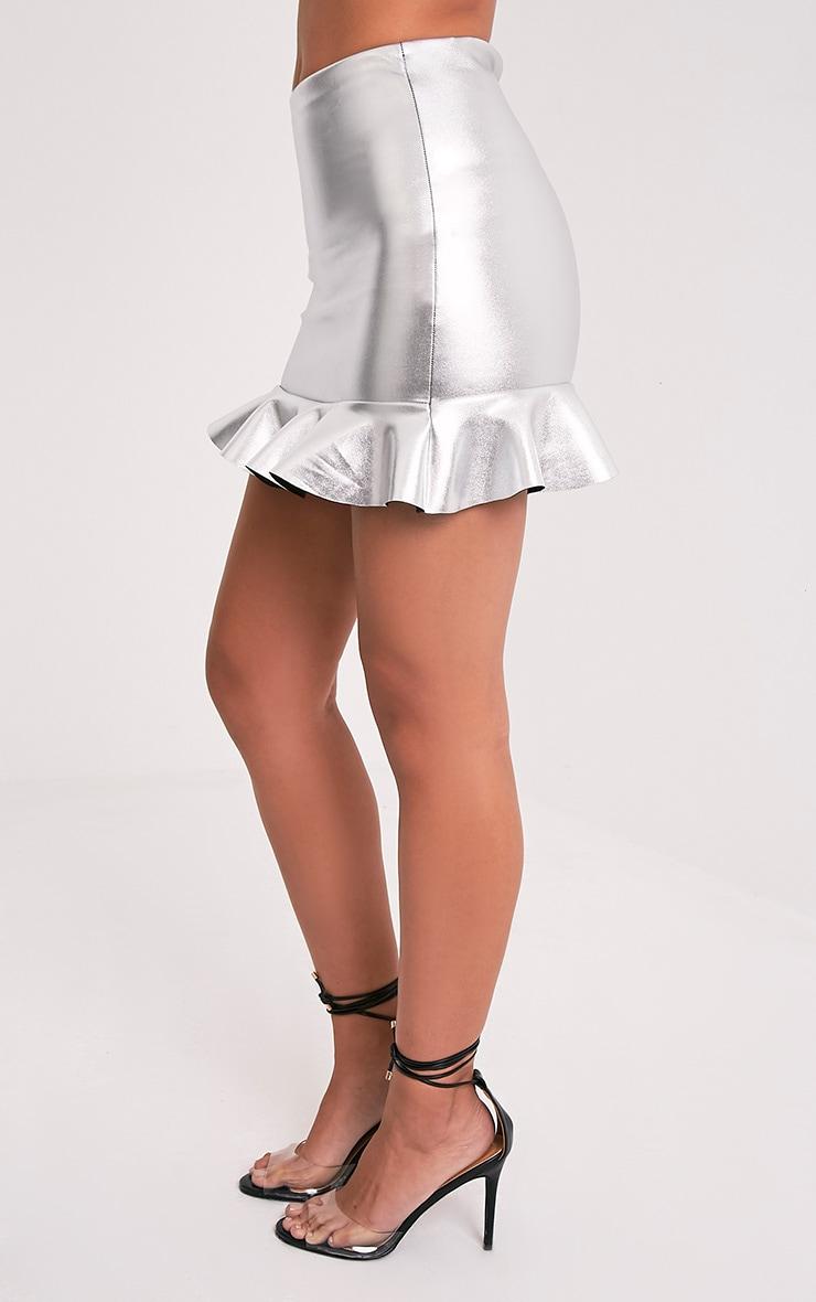 Camelia Silver Metallic Ruffle Mini Skirt 4