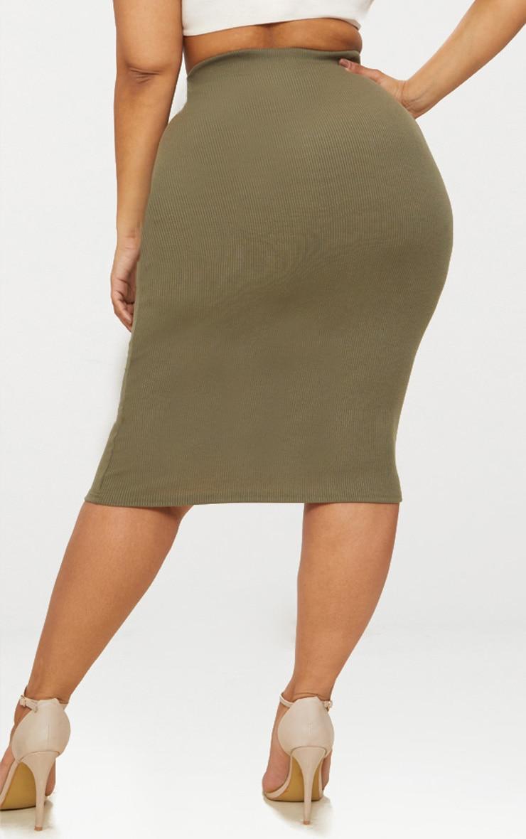 Plus Khaki Ribbed Zip Detail Midi Skirt 4
