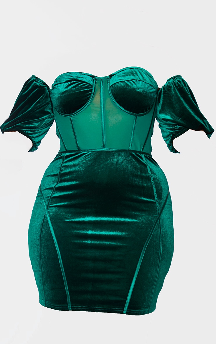 Plus Emerald Green Velvet Corset Bardot Mesh Insert Bodycon Dress 5