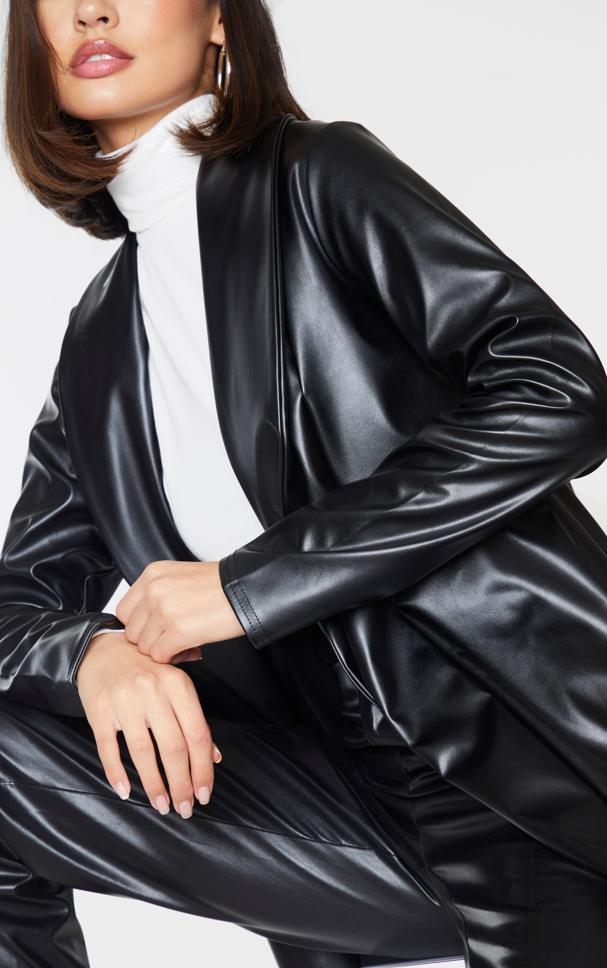 Black Drop Collar Faux Leather Blazer 4