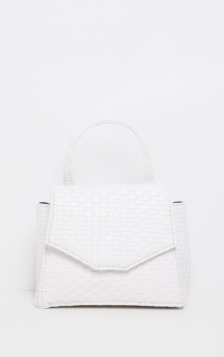 Ceinture-sacoche tissée blanche à détails en similicuir 3