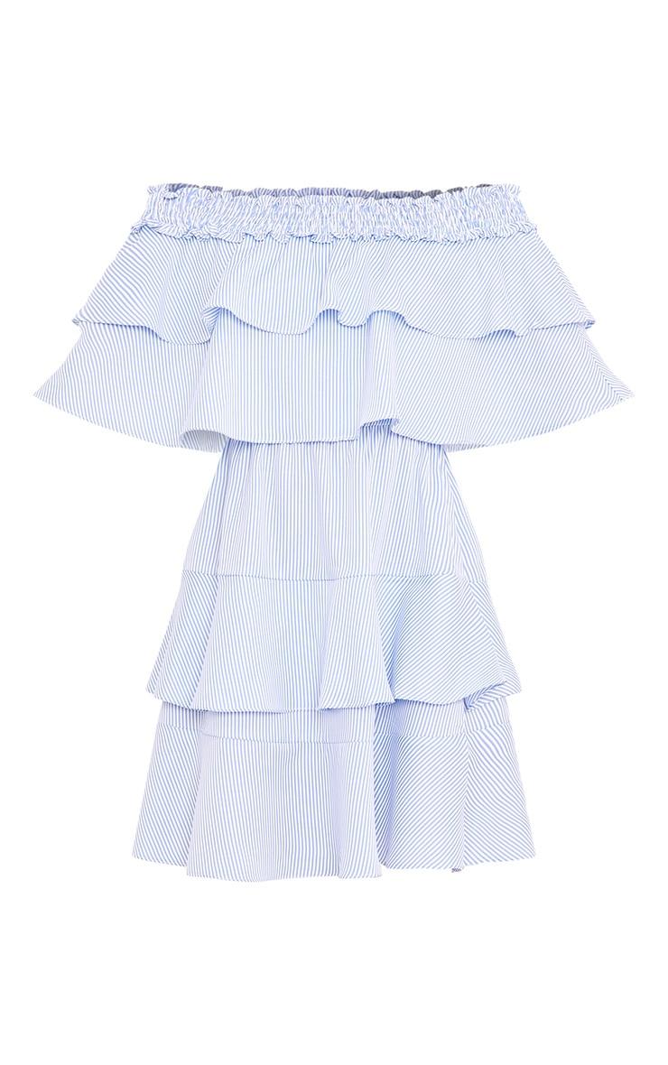 Honourr Striped Bardot Frill Detail Shift Dress Blue 3