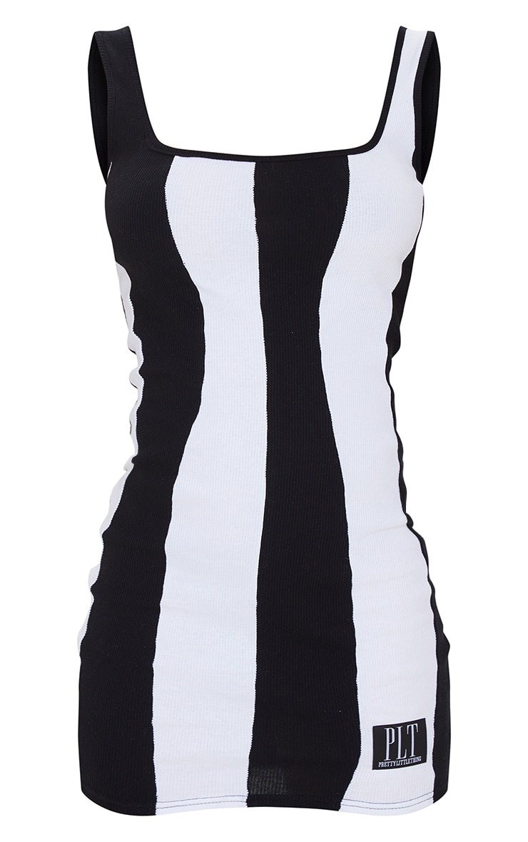 PRETTYLITTLETHING Black Ribbed Contrast Stripe Bodycon Dress 5