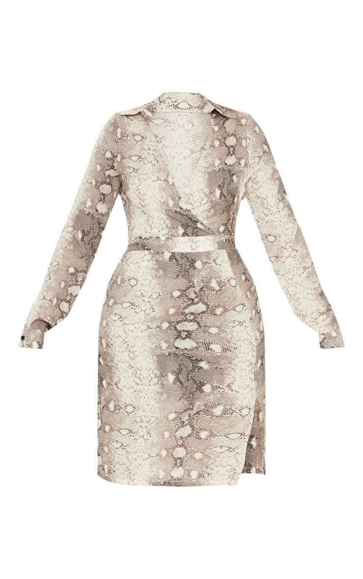 Cream Chiffon Snake Print Midi Dress  3