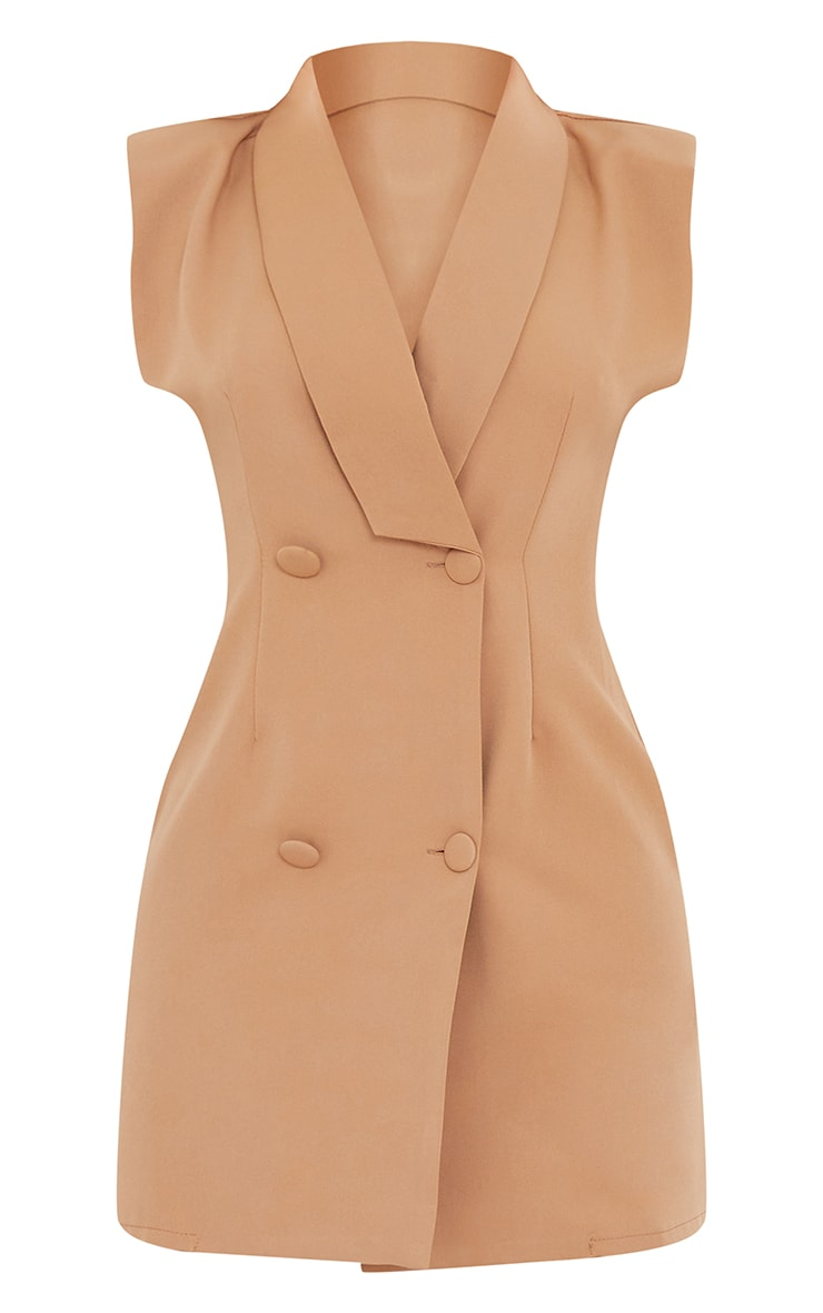 Camel Sleeveless Shoulder Pad Blazer Dress 5