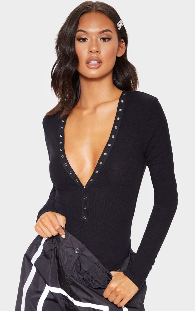 Black Soft Rib Popper Detail Long Sleeve Bodysuit 1
