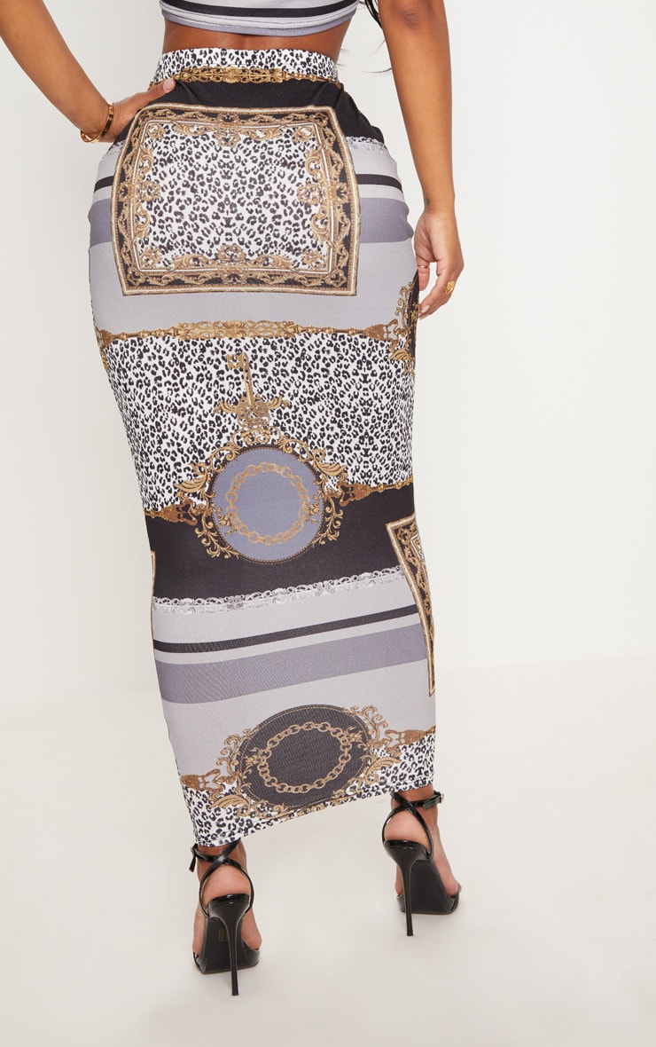 Shape Black  Chain Print Midaxi Skirt 4