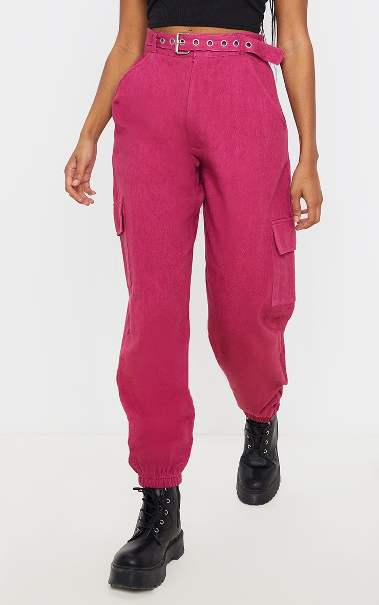 Washed Violet Eyelet Detail Belted Cargo Pants  2