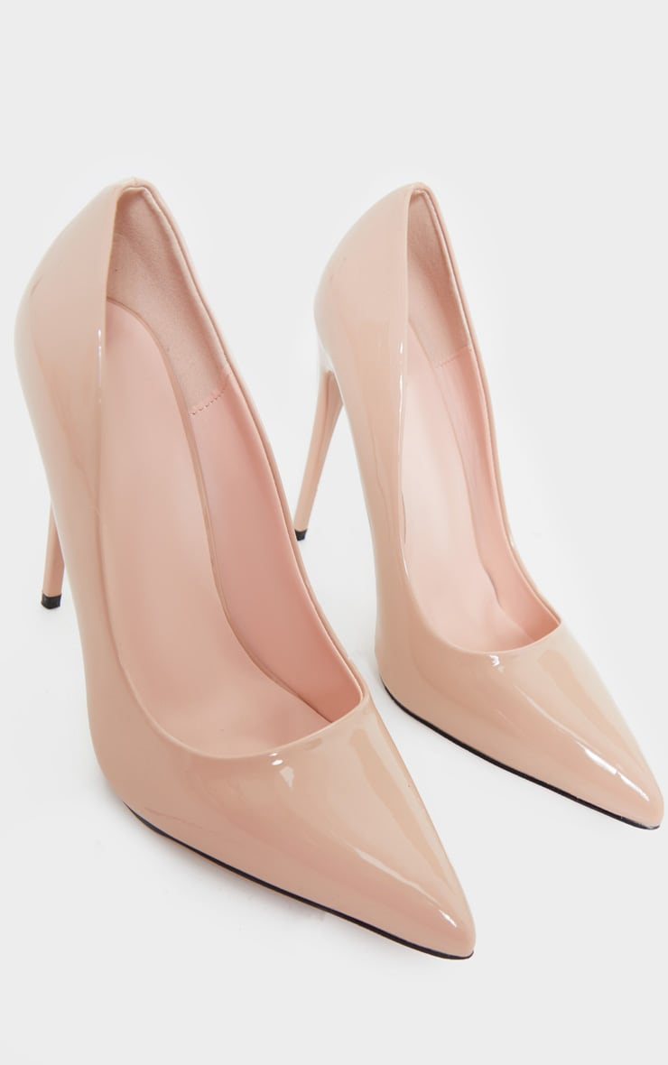 Nude Patent PU High Court Heel Shoes 3