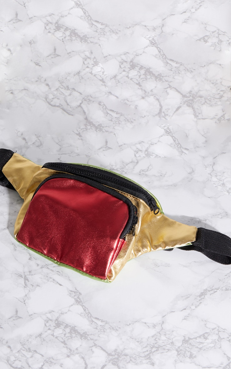Red Multi Colour Metallic Fanny Pack 4