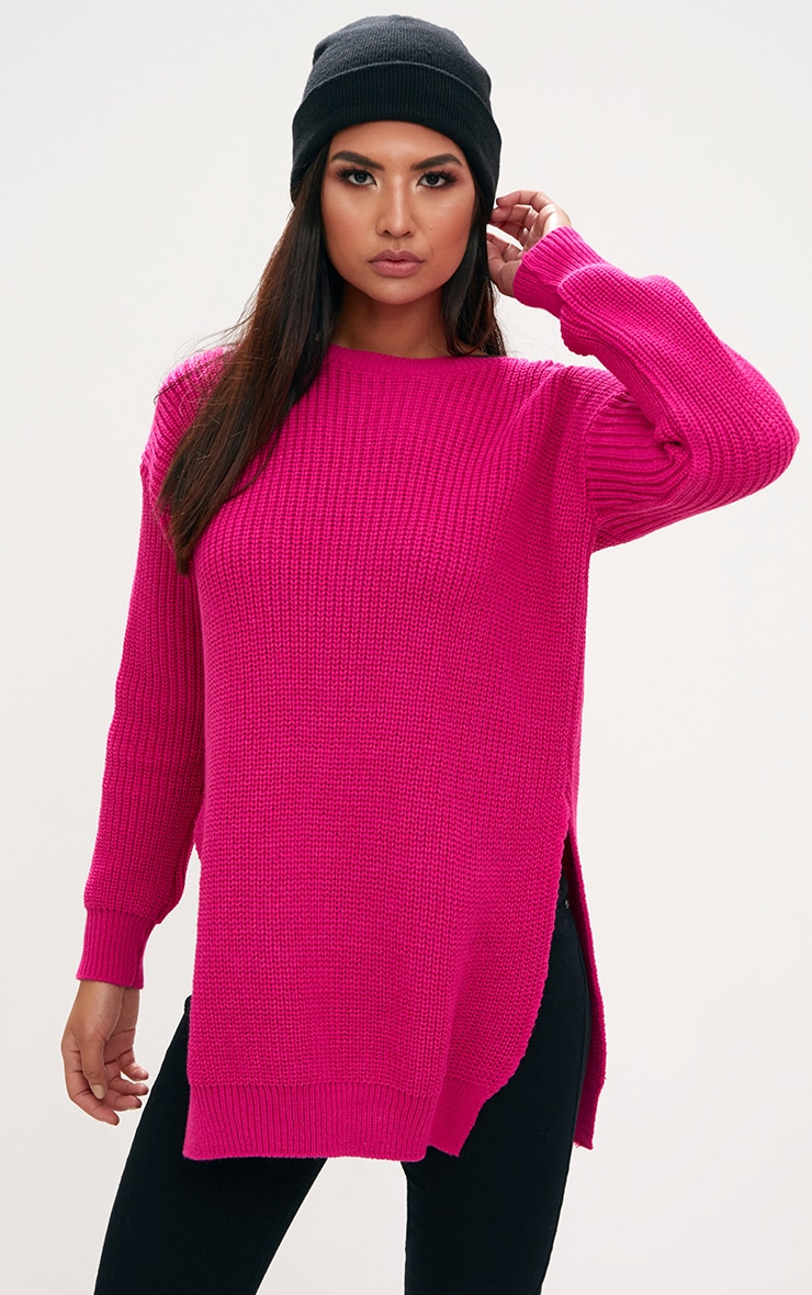 Pink Round Neck Side Split Jumper 1
