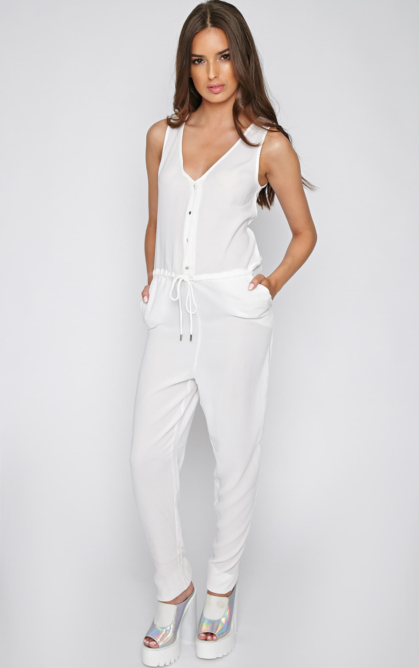 Suki White Off-Duty Jumpsuit 1