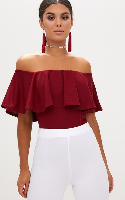a830a9c12b34e Black Crop Off Shoulder Sweater. £15.00. Burgundy Bardot Frill Bodysuit