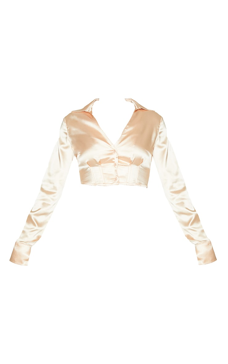 Champagne Satin Boned Long Sleeve Shirt 5