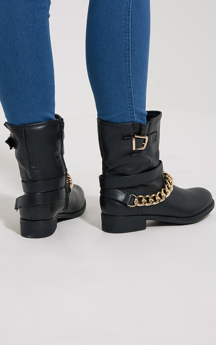 Janet Black Chain Ankle Boots 2