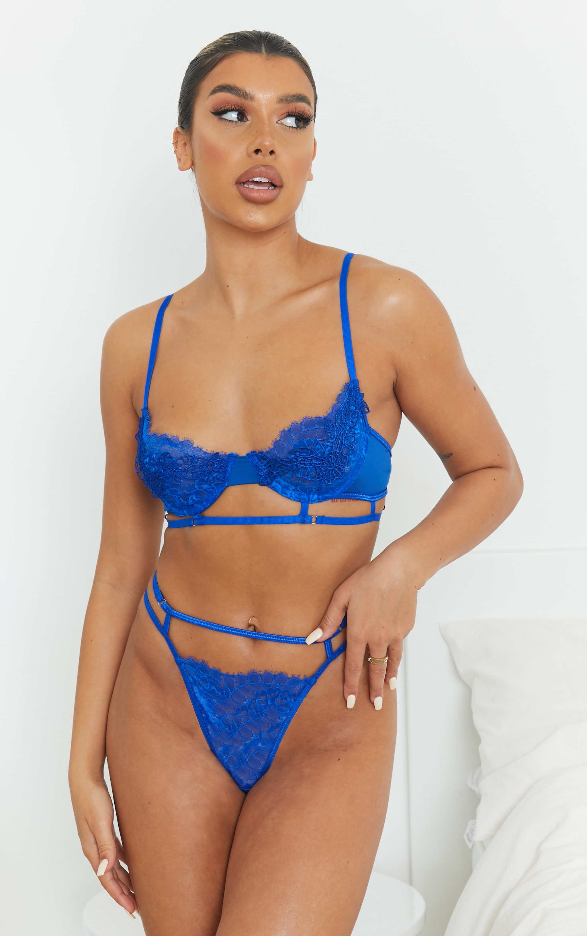 Cobalt Embroidered Lace Detail Strappy Lingerie Set 1