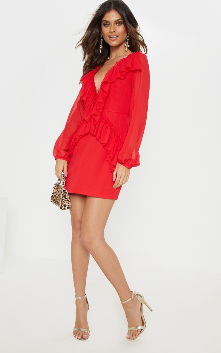 Red Chiffon Frill Detail Bodycon Dress 4