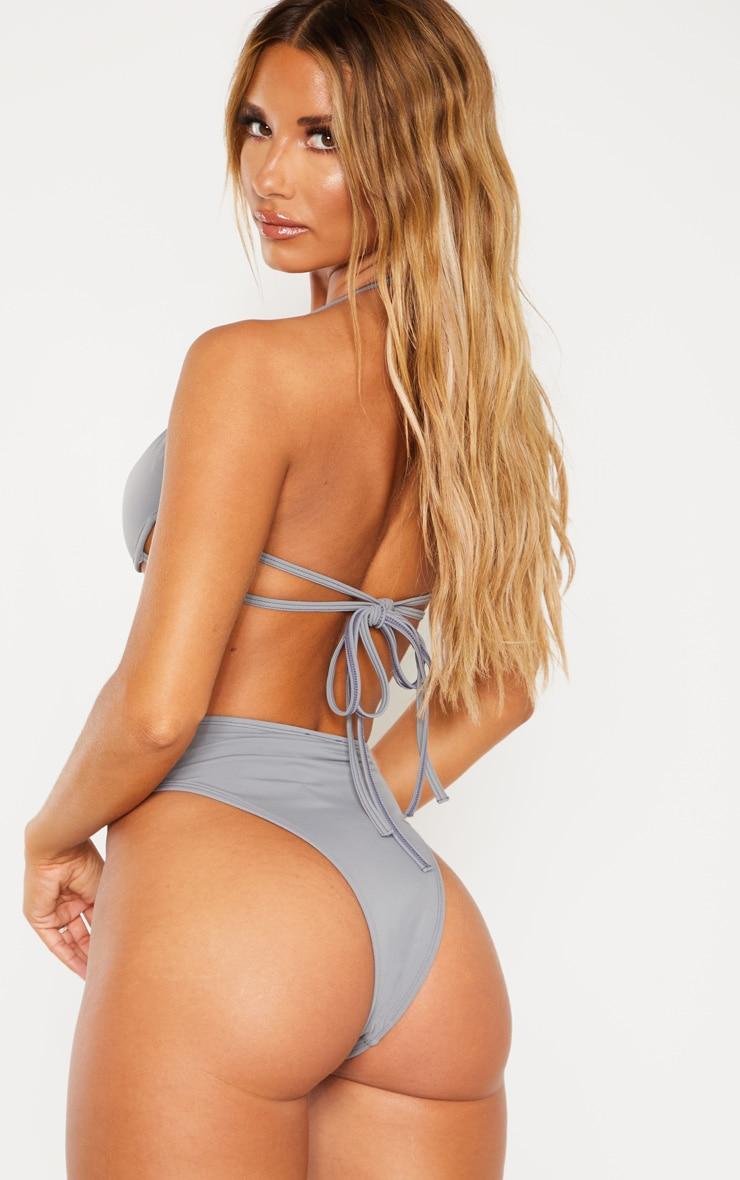 Charcoal Cleavage Wire Detail Bikini Top 3