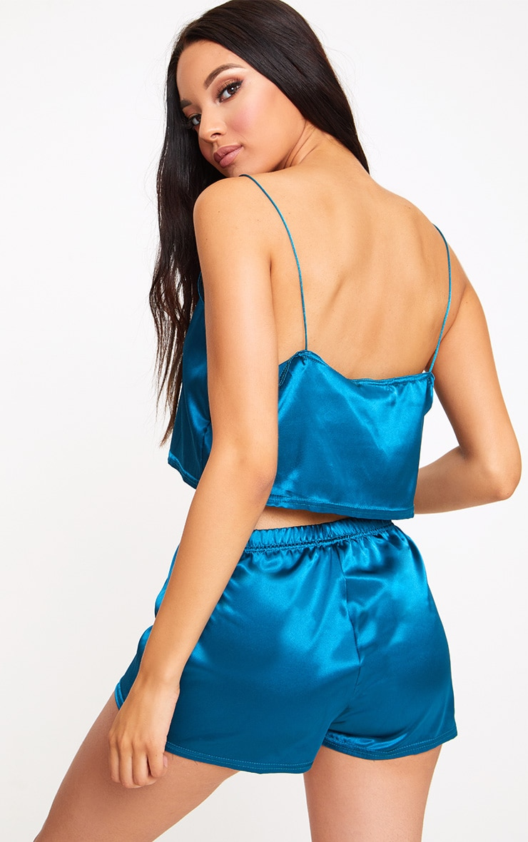 Teal Satin Pyjama Shorts Set 2