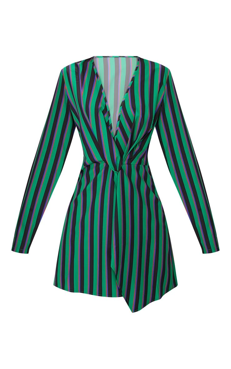 Green Stripe Print Satin Long Sleeve Wrap Dress 3