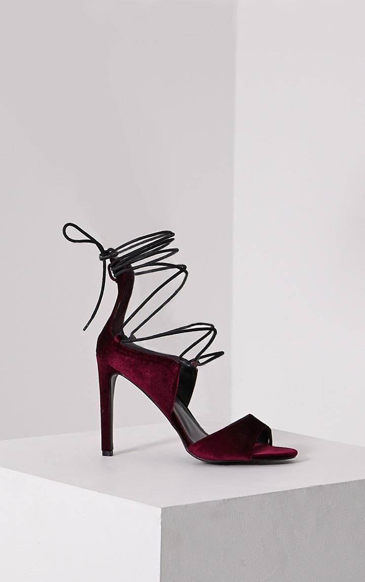 Heidey Burgundy Velvet Lace Up Heels 3