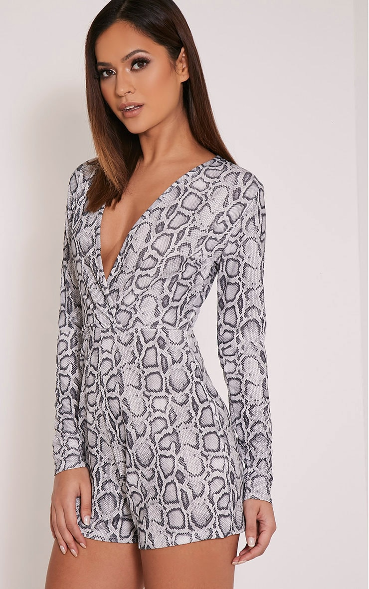 Anne Grey Snake Print Plunge Playsuit 4