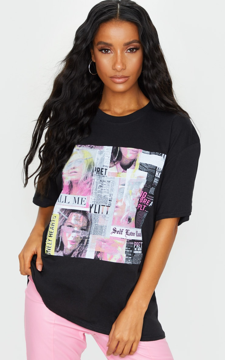 PRETTYLITTLETHING Black Newspaper Printed T Shirt 1
