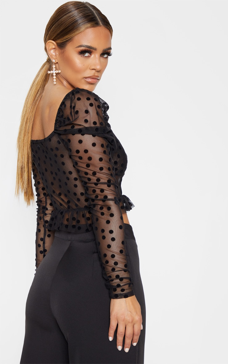 Petite Black Polka Dot Mesh Long Sleeve Top  2