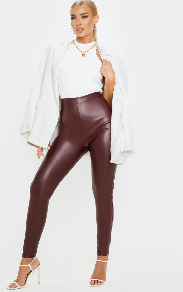 Burgundy Faux Leather High Waisted Legging  1