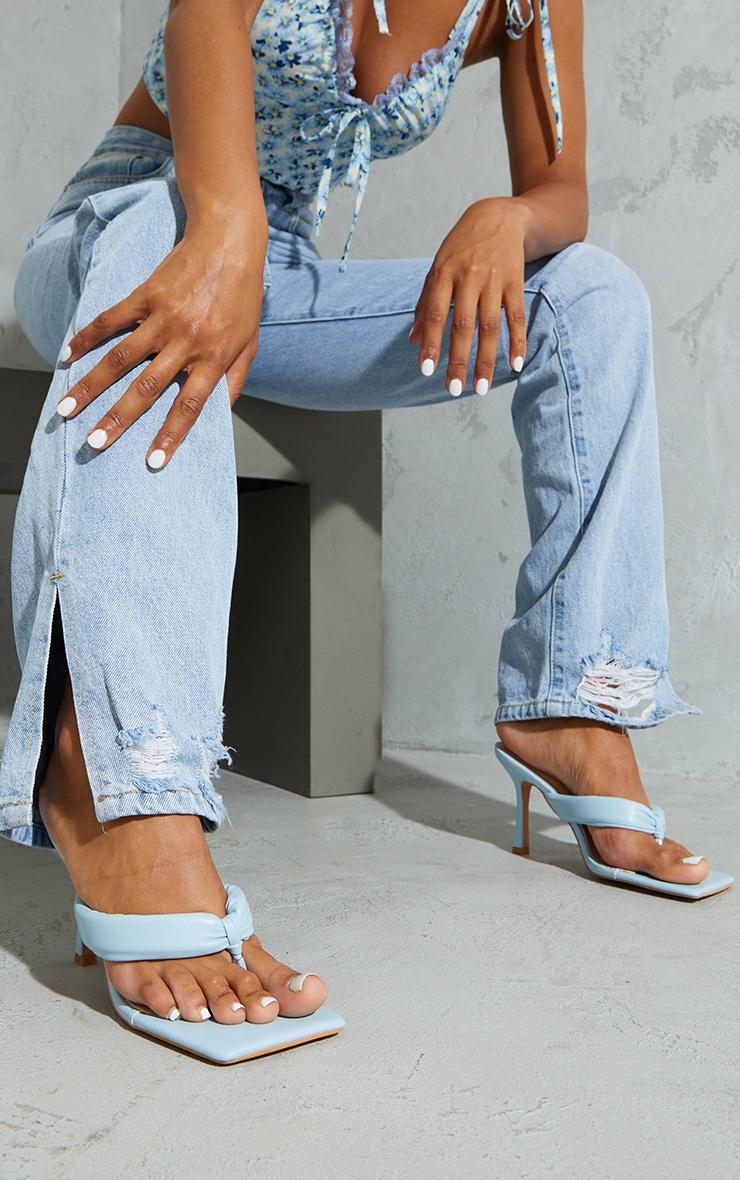 Pastel Blue Pu Tube Toe Thong Mid Heels 1