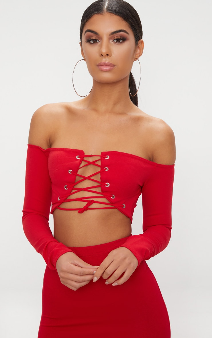 Red Lace Up Front Crop Top Pretty Little Thing Get To Buy For Sale hQwng9