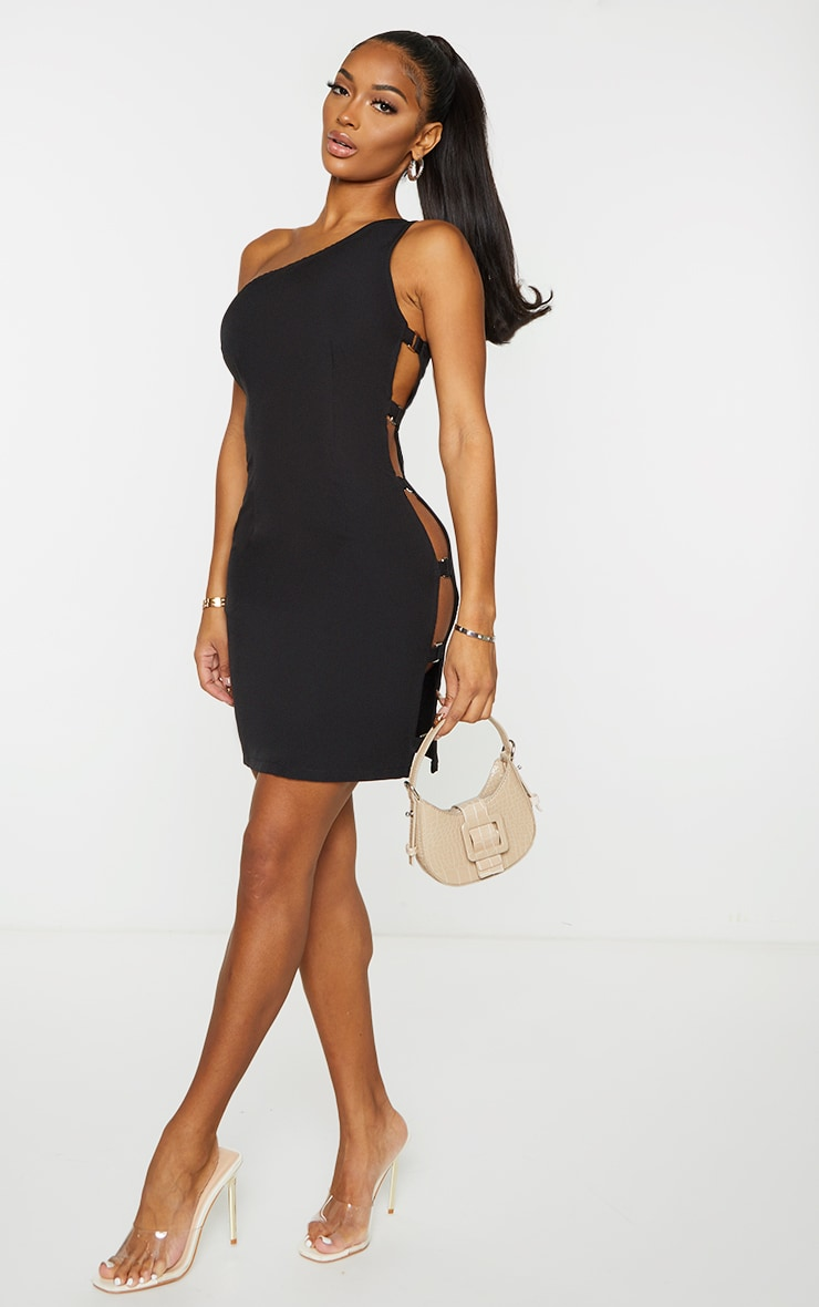 Shape Black Woven One Shoulder Buckle Detail Bodycon Dress 3