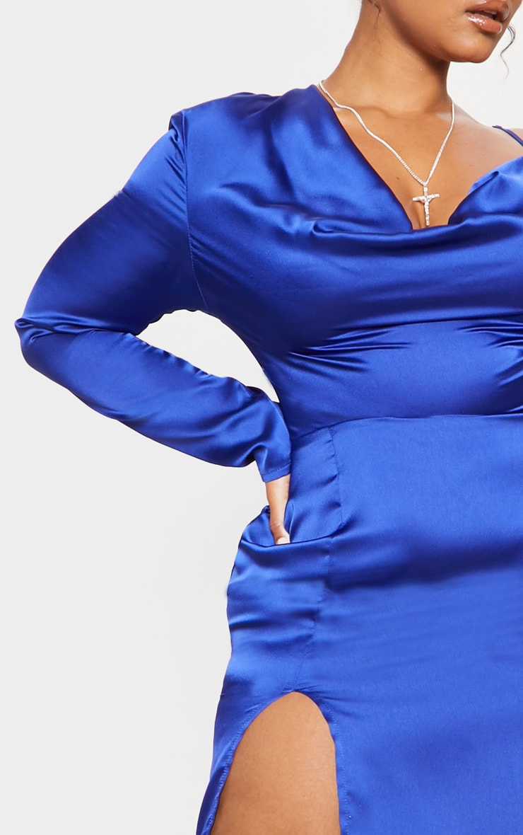 Cobalt Satin Cowl Neck Extreme Split Midi Dress 6