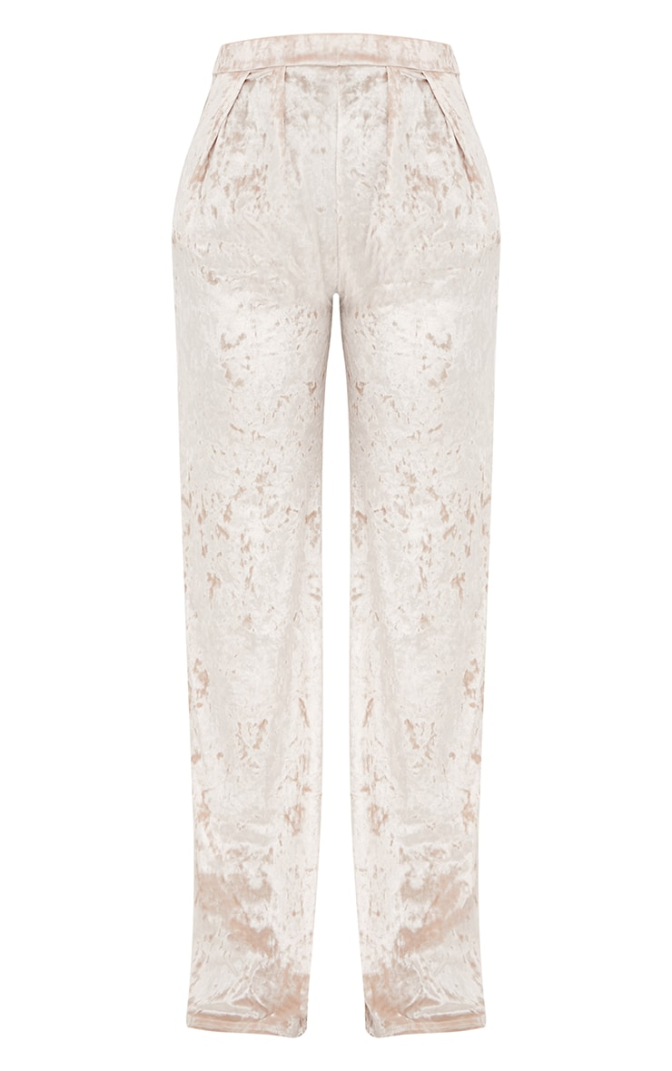 Champagne Crushed Velvet Wide Leg Suit Trousers 3