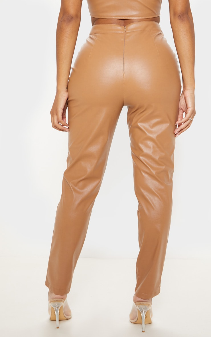 Shape Tan Faux Leather Straight Leg Trouser 4