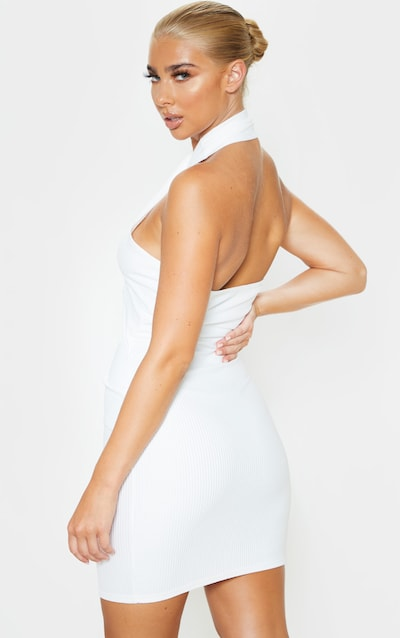 White Ribbed Bandage Look Halterneck Bodycon Dress