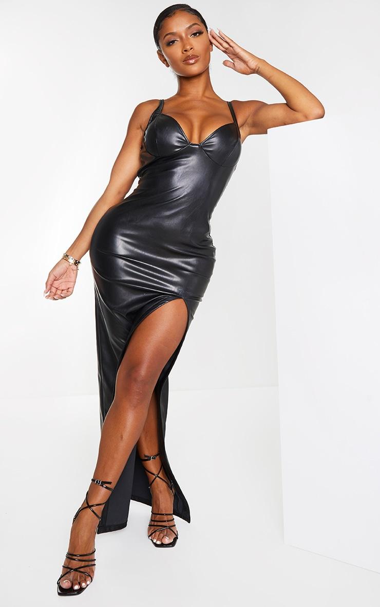 Shape Black PU High Split Maxi Dress 1