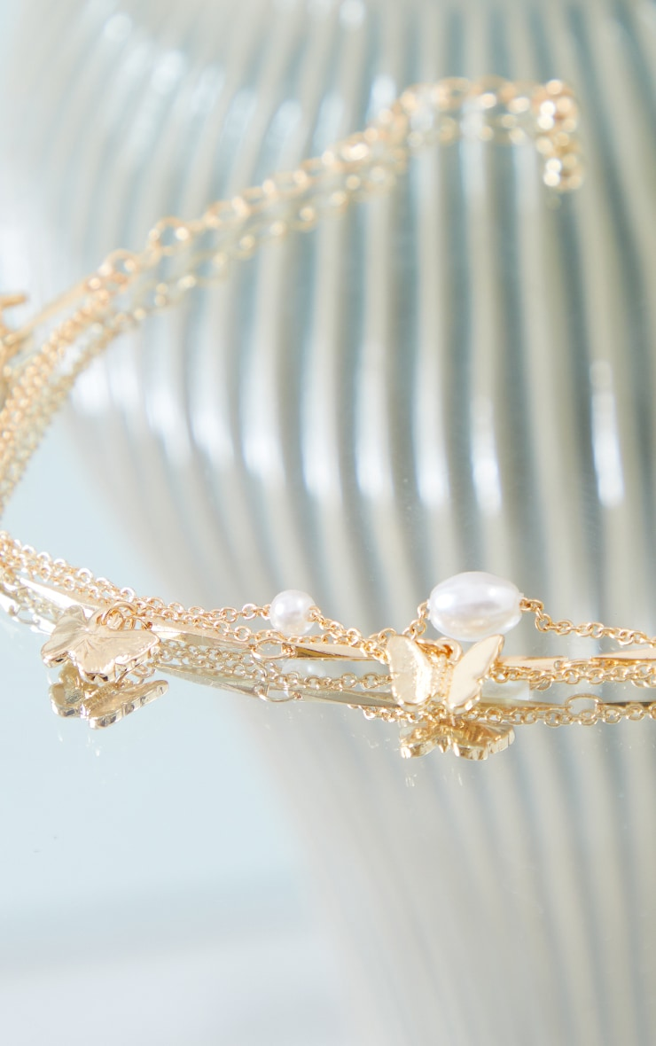 Gold Butterfly And Pearl Dainty Anklet 3
