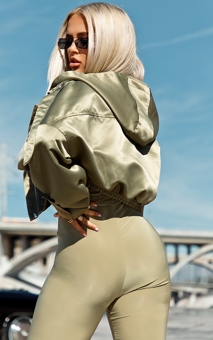 Sage Green Satin Oversized Hooded Pocket Bomber Jacket 2