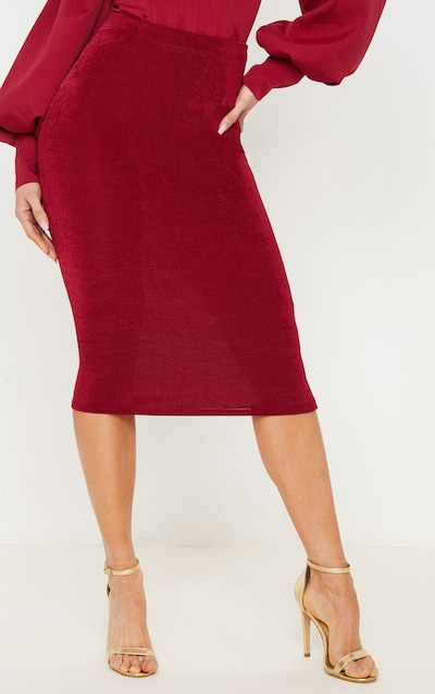 Burgundy Textured Slinky Midi Skirt