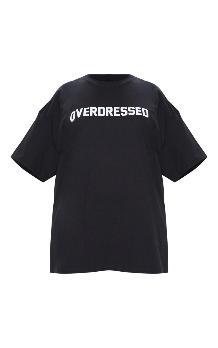 Plus Black Overdressed Slogan T Shirt 3